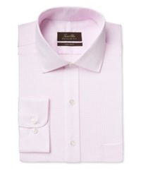 Tasso Elba Men's Classic Fit Non Iron Pink Twill Tattersall Dress Shirt Only At Macy's