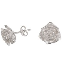 Dower And Hall Sterling Silver Rose Stud Earrings Silver