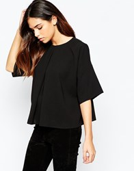 Asos Kimono Sleeve Origami T Shirt With Pleat Front Black