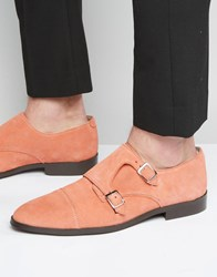 Asos Monk Shoes In Coral Suede With Toe Cap Peach Pink