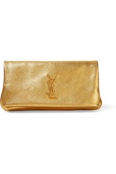 Saint Laurent Monogramme West Hollywood Fold Over Metallic Textured Leather Clutch Gold