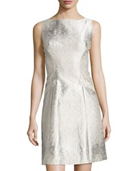 Theia Sleeveless Jacquard A Line Cocktail Dress Oyster