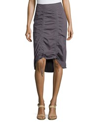 Neon Buddha Gypsy Ruched Drawstring Hem Skirt Slate Grey