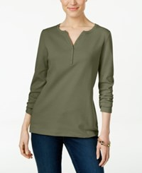 Karen Scott Long Sleeve Henley Top Only At Macy's Olive Sprig