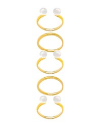 Lord And Taylor 5 Piece Fresh Water Pearl Cuff Band Rings 5.2Mm Gold