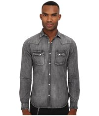The Kooples Washed Black Denim Shirt Blue Men's Long Sleeve Button Up
