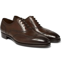 Gaziano And Girling Rothschild Polished Leather Wingtip Brogues Brown