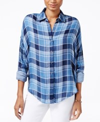 William Rast Aster Plaid Shirt Blue Combo