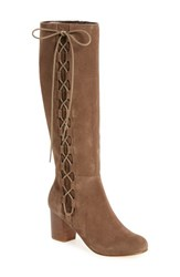 Sole Society Women's Arabella Knee High Lace Up Boot Taupe Suede