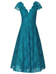 Jolie Moi Cap Sleeve Scalloped Lace Prom Dress Teal
