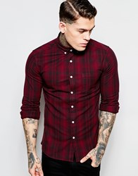 Asos Skinny Shirt In Faded Check With Long Sleeves Red