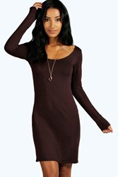 Boohoo Long Sleeve Scoop Neck Bodycon Dress Chocolate