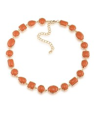 1St And Gorgeous Cabochon Multi Shape Flexible Collar Necklace In Spiced Orange Gold