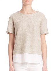 Saks Fifth Avenue X Majestic Filatures Double Layer Tweed Shirt Beige White