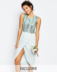 Tfnc Wedding Sequin Midi Dress With Open Back Green