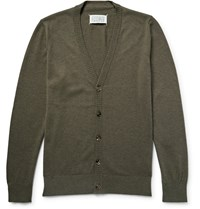 Maison Martin Margiela Leather Elbow Patch Cotton And Wool Blend Cardigan Neutrals