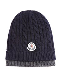 Moncler Wool Chunky Cable Knit Beanie Navy Grey