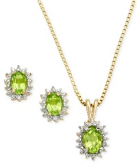 Victoria Townsend 18K Gold Over Sterling Silver Earrings And Pendant Set Peridot 1 3 4 Ct. T.W. And Diamond Accent Oval