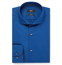 Hugo Boss Blue Jery Slim Fit Cutaway Collar Cotton Shirt Blue