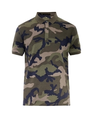 Valentino Camo Print Cotton Polo Shirt