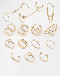 New Look Skinny Connected Multipack Ring Gold