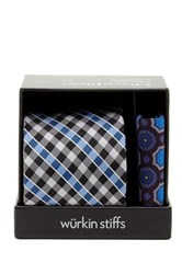 Wurkin Stiffs Plaid Tie And Pocket Square Set Black
