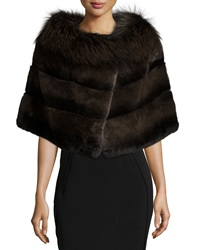 Gorski Rabbit Fur Shawl W Fox Fur Trim