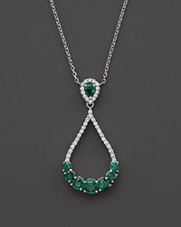 Bloomingdale's Emerald And Diamond Teardrop Pendant Necklace In 14K White Gold 16 Green White