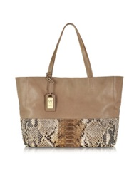 Ghibli Large Python And Leather Tote Brown