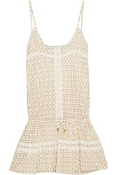 Melissa Odabash Khloe Metallic Crochet Knit Mini Dress Ivory