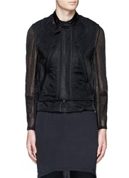 Ann Demeulemeester Detachable Underlay Sheer Cropped Jacket Black