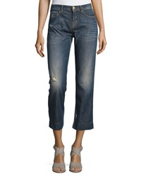 See By Chloe Distressed Cropped Jeans Denim Blue