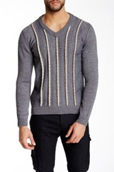 Ernest Hemingway V Neck Cable Knit Accent Sweater Gray