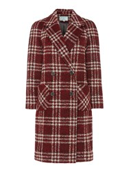 Dickins And Jones Red Checked Double Breasted Coat