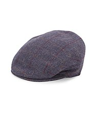 Saks Fifth Avenue Plaid Woolen Newsboy Cap Navy Plaid