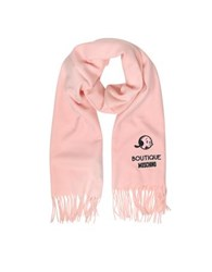 Moschino Solid Wool Olive Oil Long Scarf W Fringe Pink