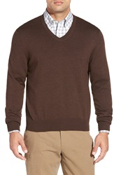 Brooks Brothers 'Saxxon' V Neck Sweater Brown