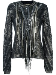 Roberto Cavalli Metallic Fringed Jumper