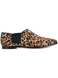 Jimmy Choo Glint Leopard Print Calf Hair And Leather Loafers Brown