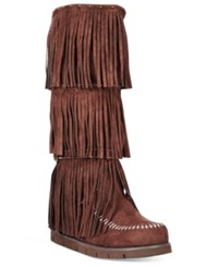 Mojo Moxy Dolce By Crossbow Fringe Wedge Boots Women's Shoes Espresso