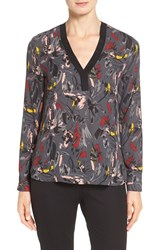 Halogenr Women's Halogen Knit Trim V Neck Blouse Grey Olive Artful Floral