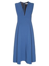 Jil Sander Bocciolo V Neck Midi Dress Blue