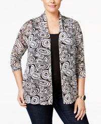 Ny Collection Plus Size Textured Knit Printed Cardigan Daydream