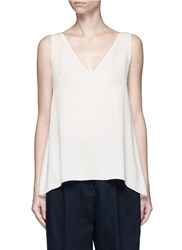 Theory 'Narcyz' V Neck Silk Shell Top White