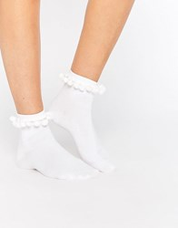 Monki Pom Pom Socks White