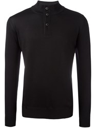 Fay Buttoned Neck Sweater Black