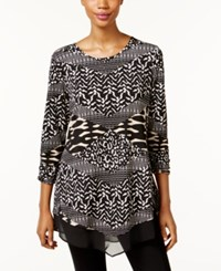 Jm Collection Mixed Print Tunic Only At Macy's Textured Patch