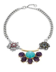 Gerard Yosca Floral Rhinestone Statement Necklace Blue