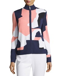 St. John Colorblock Zip Front Long Sleeve Top Ink Multi
