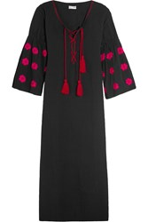 Sensi Studio Embroidered Cotton Maxi Dress Black